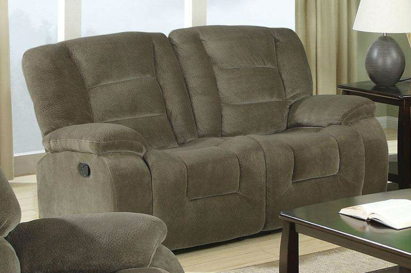 Coaster 600992 Brown Fabric Reclining Loveseat Steal A Sofa Furniture Outlet Los Angeles Ca
