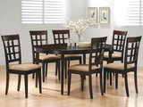 Charlotte Wheat Dark Cappuccino Wood Dining Table Set