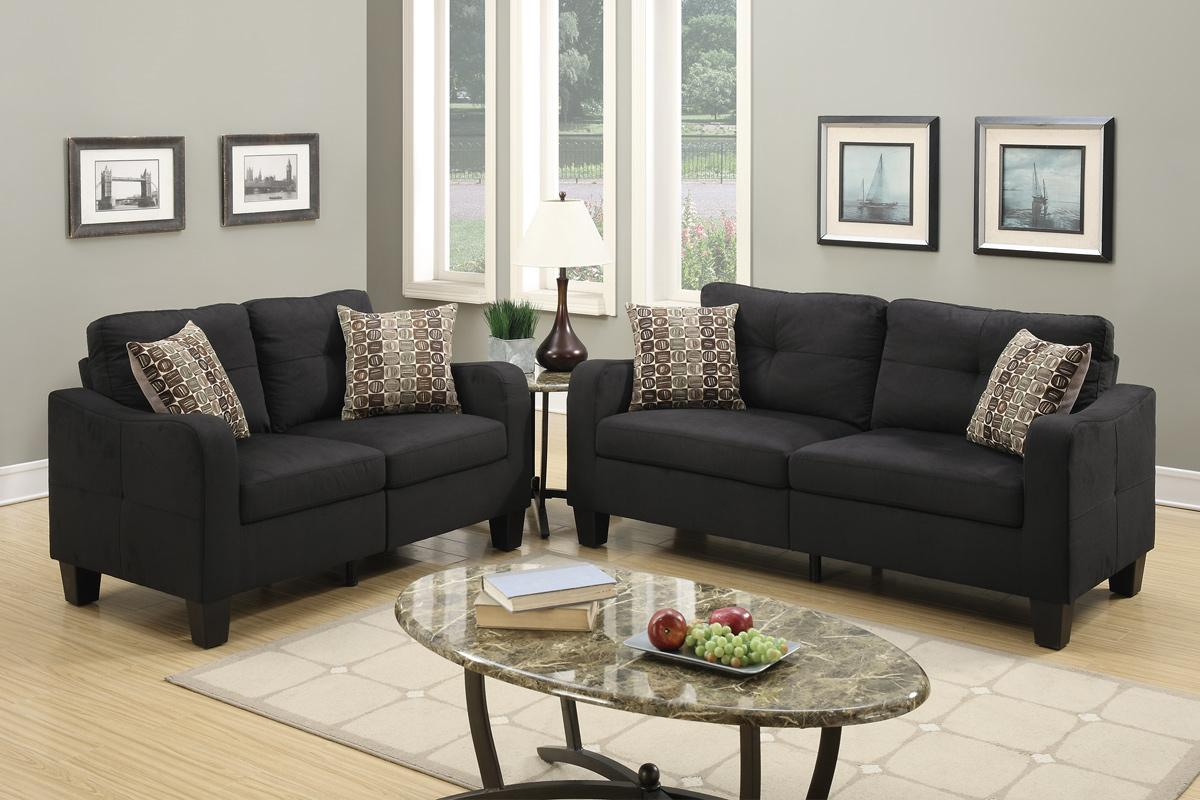 Charon Black Fabric Sofa and Loveseat Set & Black Fabric Sofa and Loveseat Set - Steal-A-Sofa Furniture Outlet ... islam-shia.org