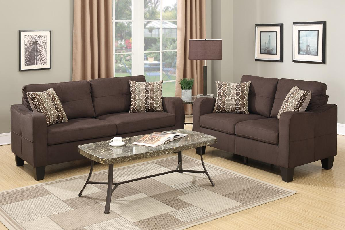 Charon Brown Fabric Sofa And Loveseat Set