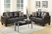 Charon Brown Leather Sofa and Loveseat Set