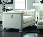 Chaviano White Leather Loveseat