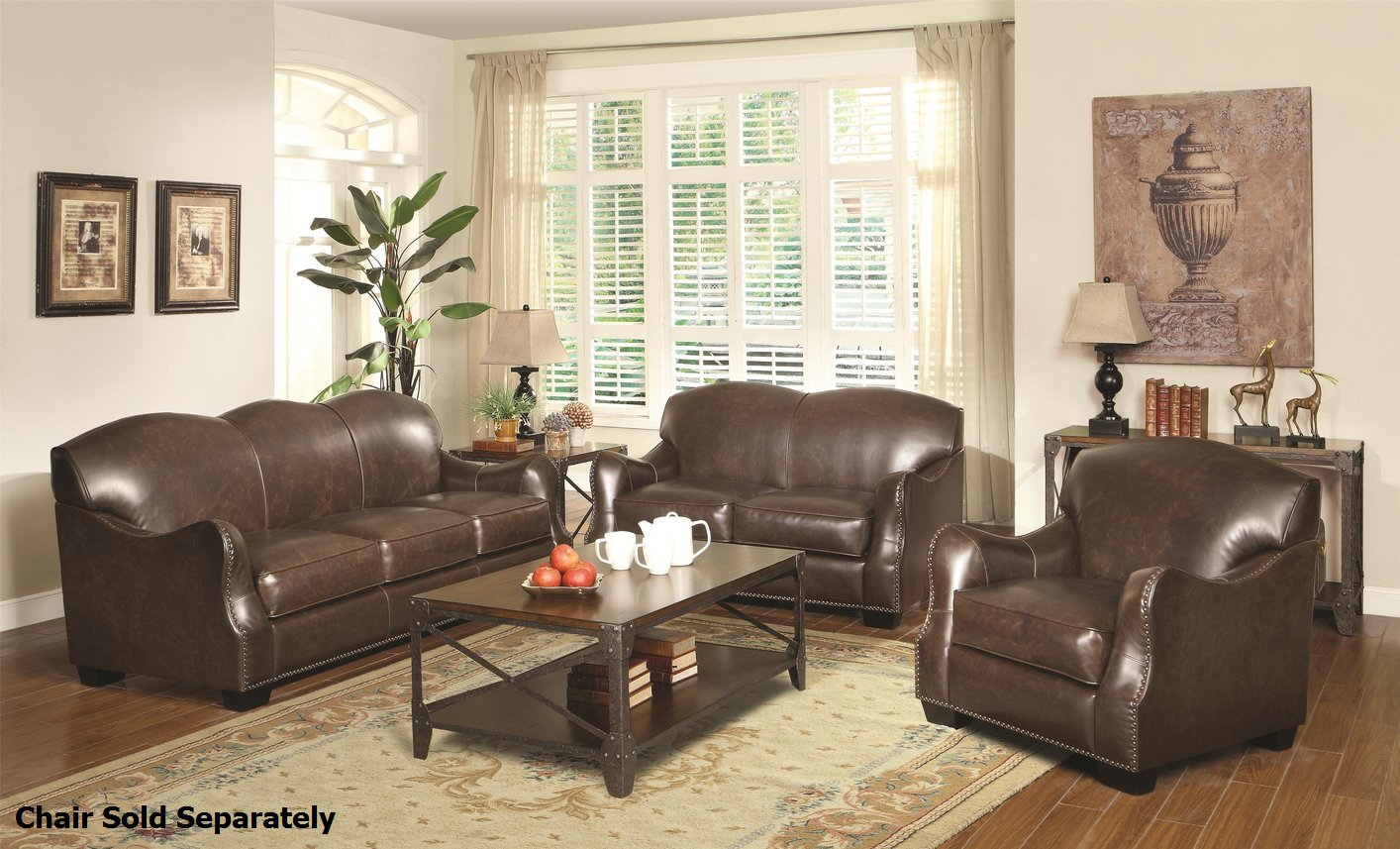 Coaster chesapeake 501781 501782 brown leather sofa and for Brown couch set