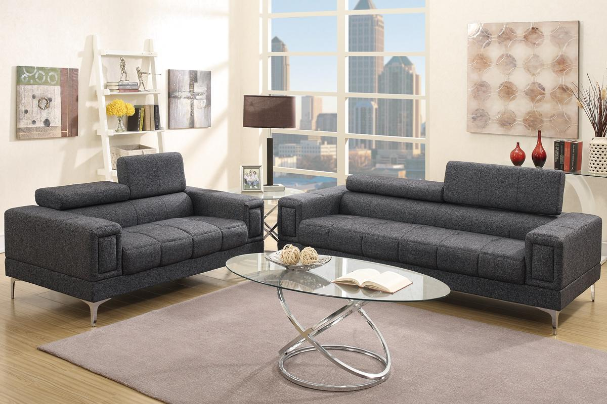 Chester Black Fabric Sofa And Loveseat Set Steal A Sofa  ~ Black Sofa And Loveseat Set