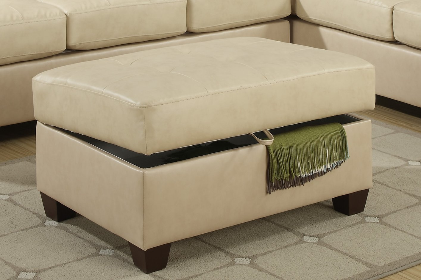 Cire Beige Leather Ottoman StealASofa Furniture Outlet Los