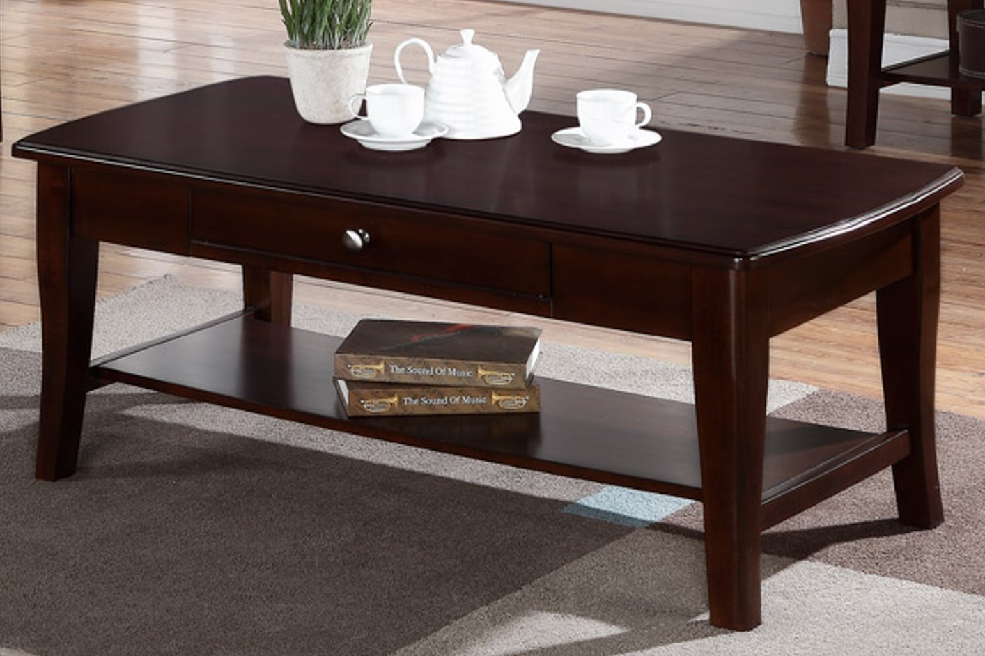 Poundex F6279 Brown Wood Coffee Table Steal A Sofa