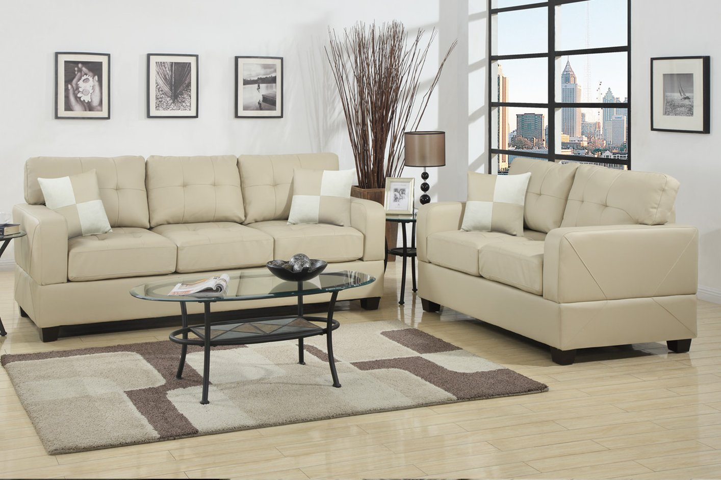Poundex chase f7342 beige leather sofa and loveseat set for Leather sofa and loveseat set