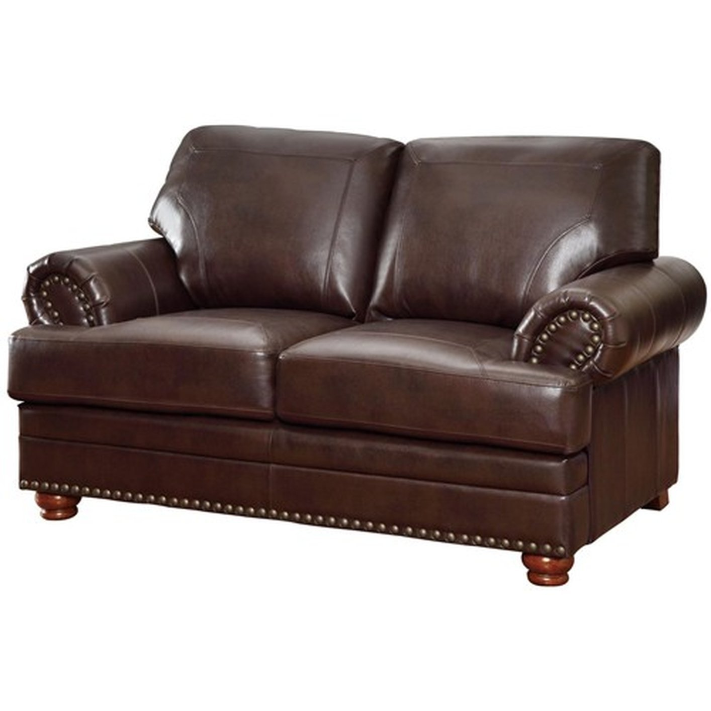 Coaster colton 504412 brown leather loveseat steal a sofa furniture outlet los angeles ca Chocolate loveseat