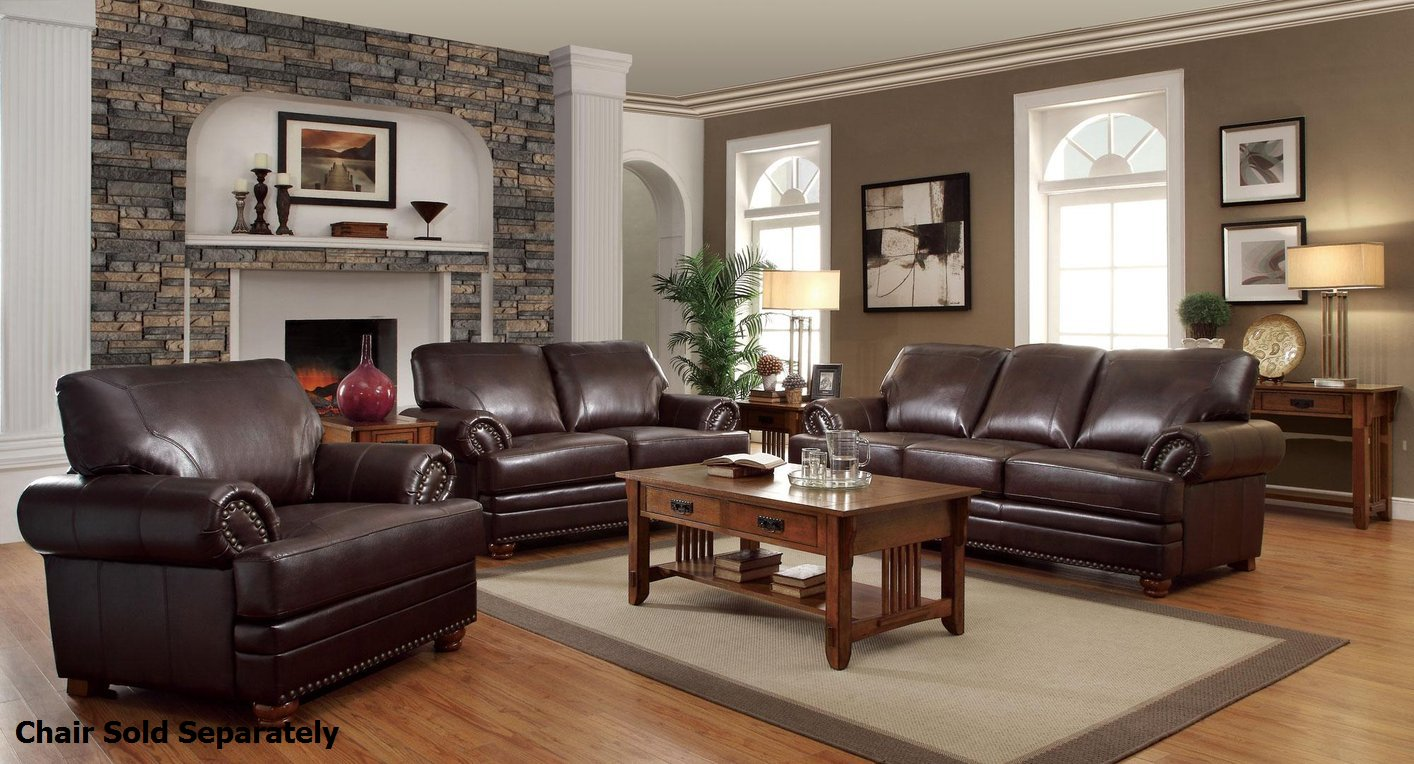 Coaster colton 504411 504412 brown leather sofa and for Leather sofa and loveseat set