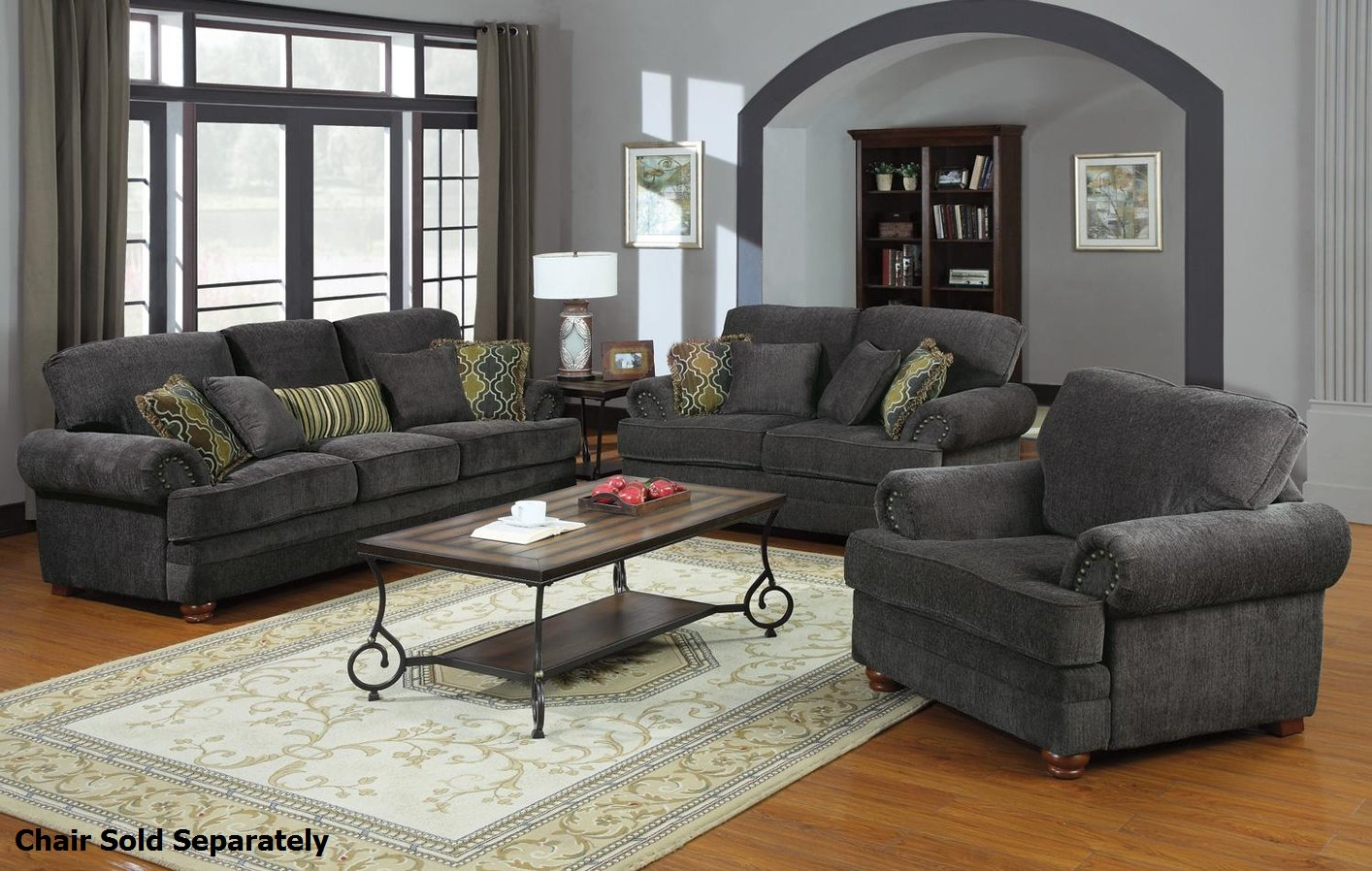 Colton Grey Fabric Sofa and Loveseat Set StealASofa Furniture