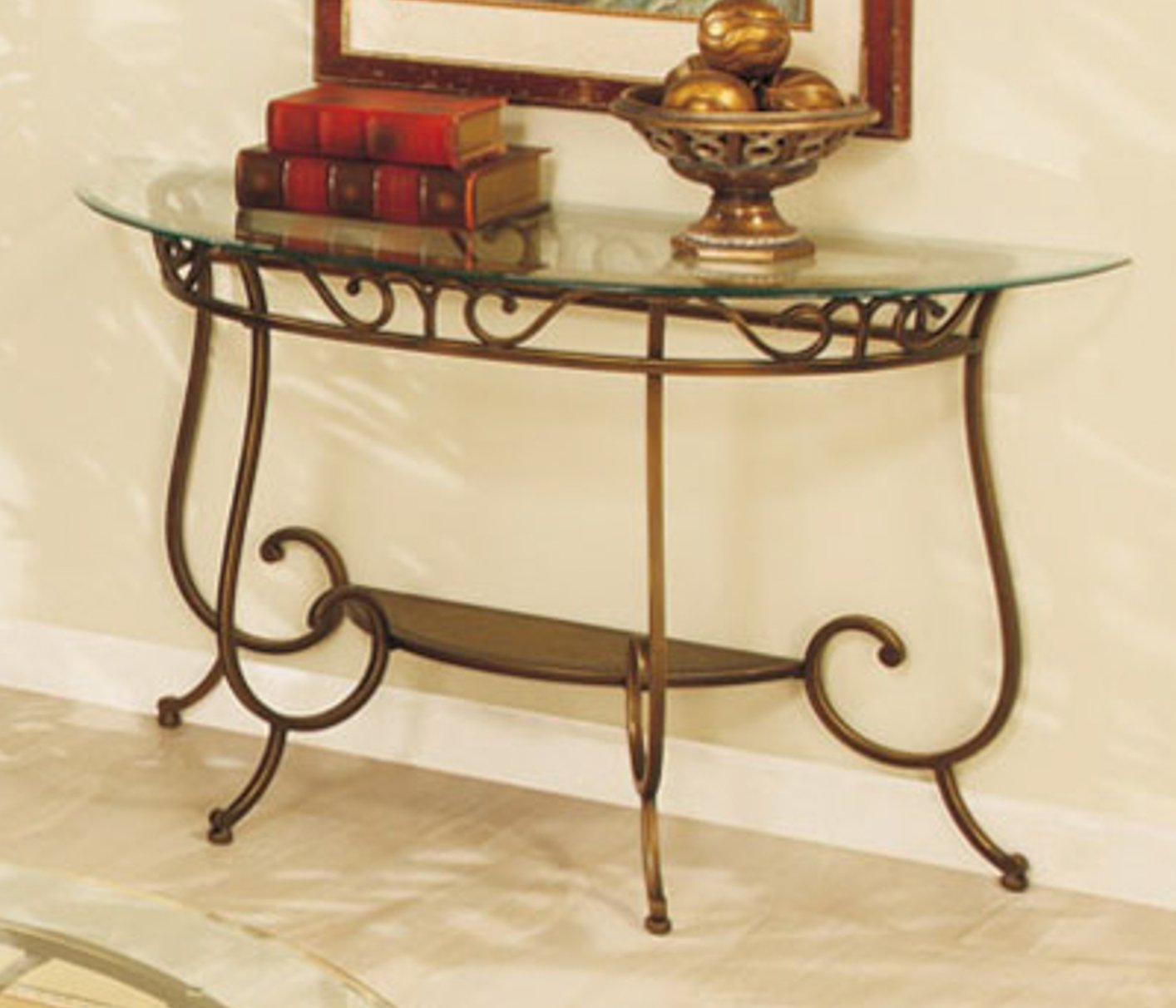 surprising Black Metal And Glass Console Table Part - 15: Black Metal Console Table