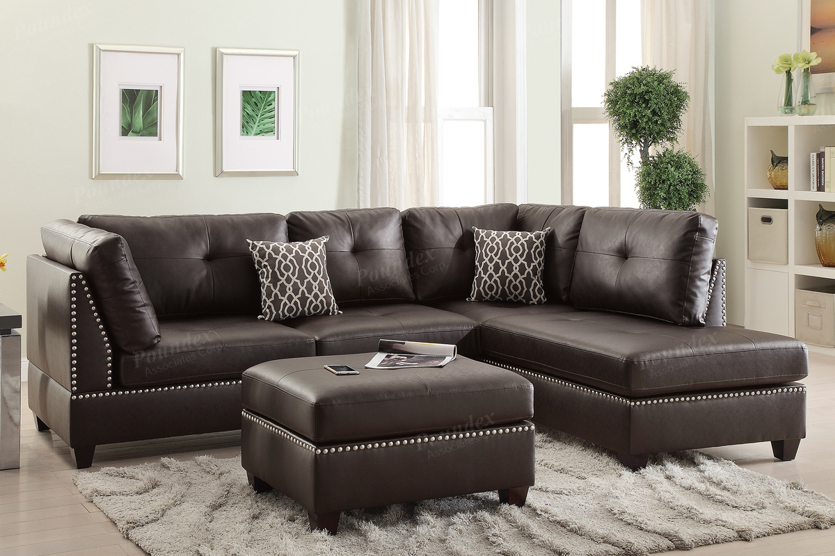 Etonnant Courtney Brown Leather Sectional Sofa And Ottoman