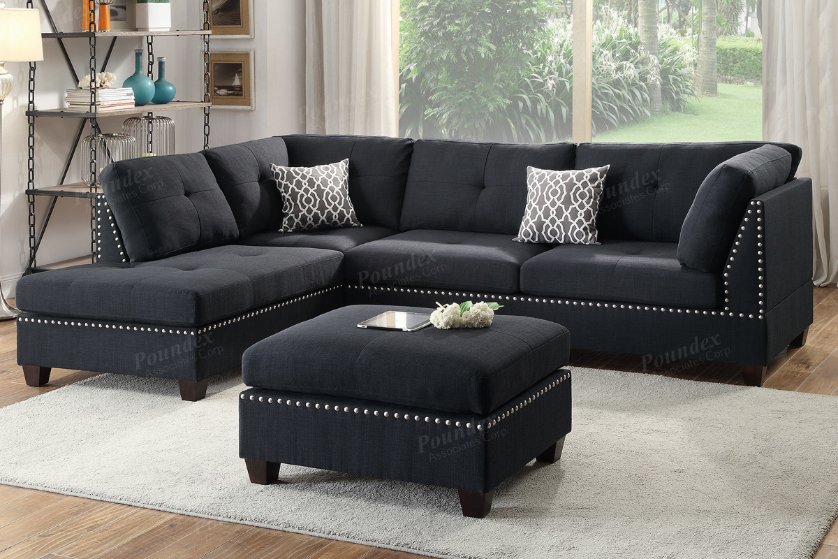 Awesome Courtney Black Fabric Sectional Sofa And Ottoman