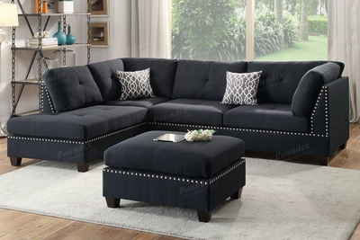 Courtney Black Fabric Sectional Sofa and Ottoman