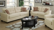 Cream Bamboo Fabric Sofa and Loveseat Set