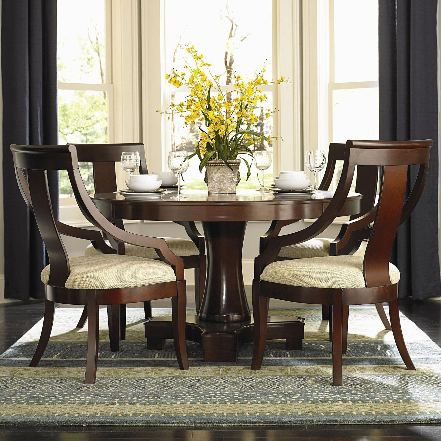Cherrywood Dining Table: Cresta Cherry Wood Dining Table Set