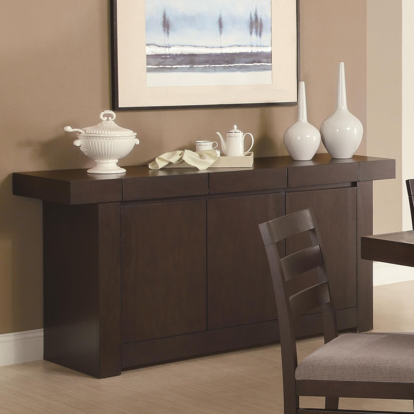 dining room furniture server brown wood server - Dining Room Server Furniture