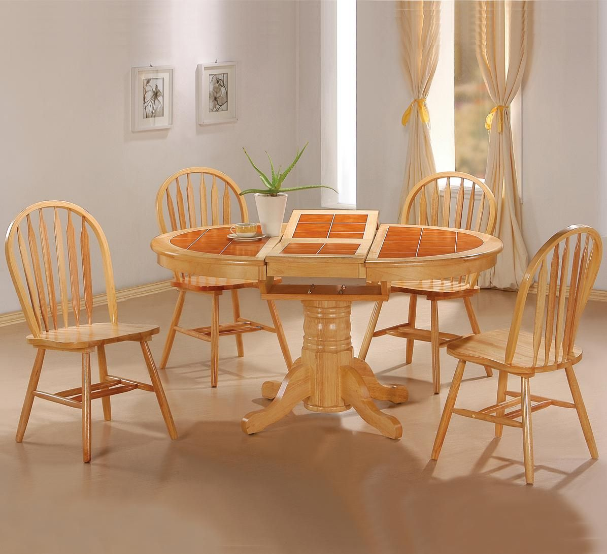 Damen Natural Wood Dining Table : oak kitchen table sets - pezcame.com