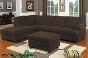 Gustav Brown Fabric Sectional Sofa