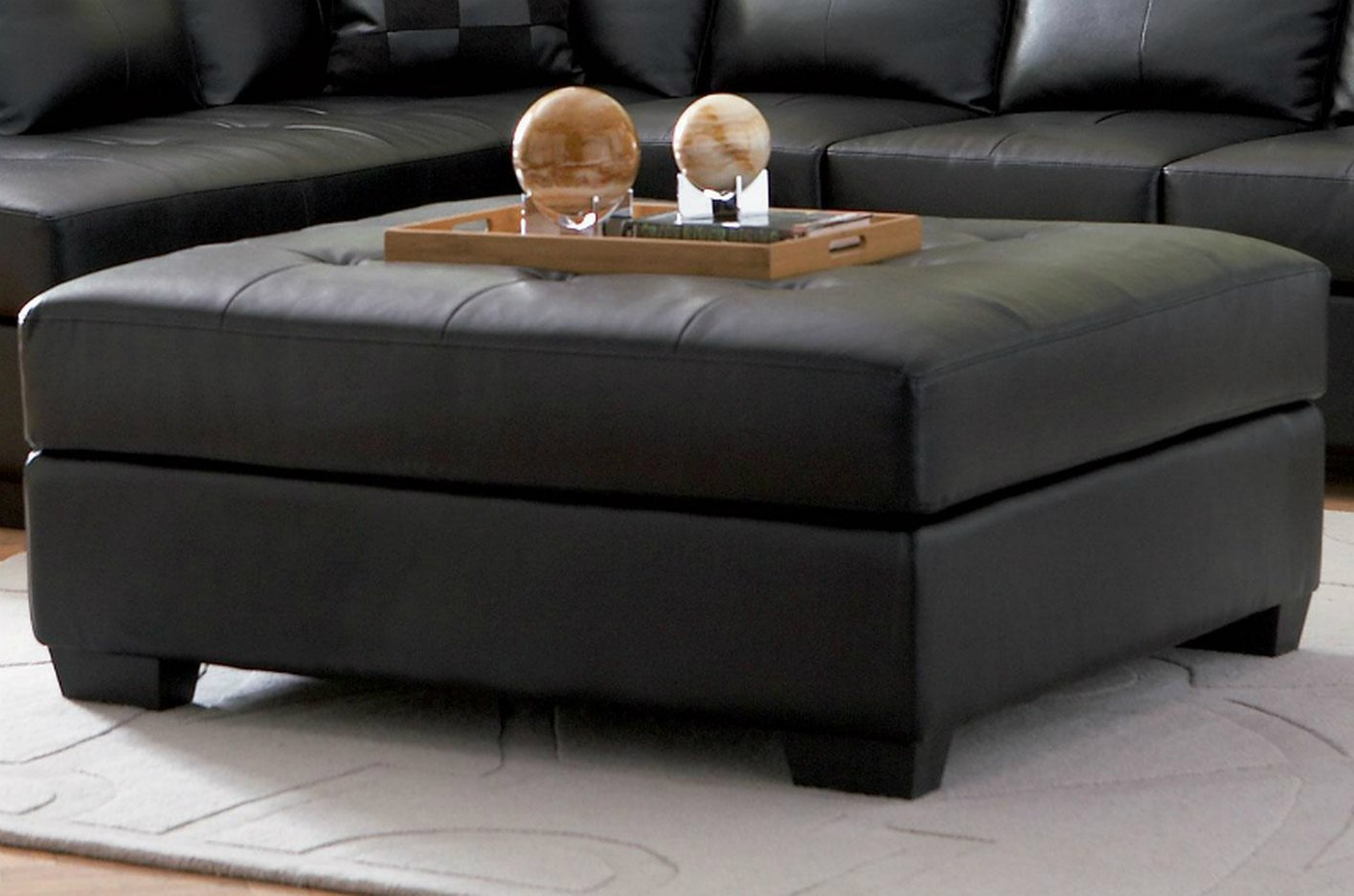 Black Leather Ottoman - Steal-A-Sofa Furniture Outlet Los ...