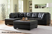Darie Black Leather Sectional Sofa