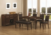 Davina Dark Oak Wood Dining Table Set