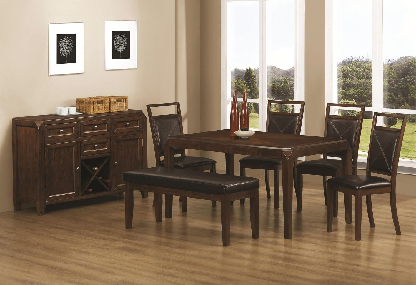 Coaster Davina 103171 103172 103173 Brown Wood Dining Table Set In Los Angele