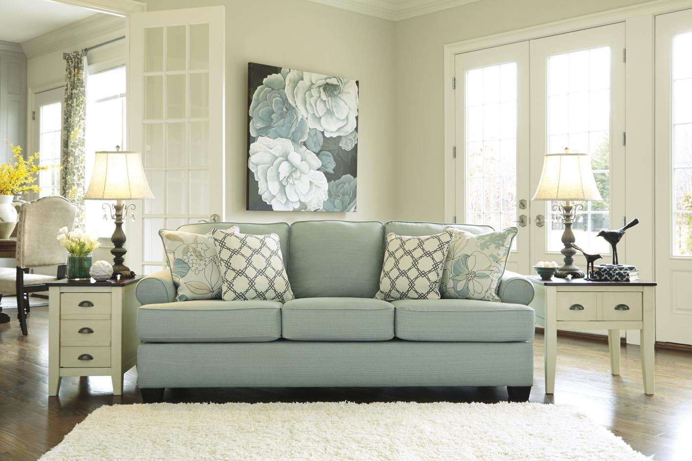 daystar seafoam green fabric sofa - steal-a-sofa furniture outlet