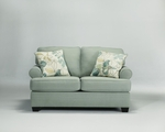 Daystar Seafoam Grey Fabric Loveseat