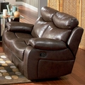 Denisa Brown Leather Reclining Loveseat
