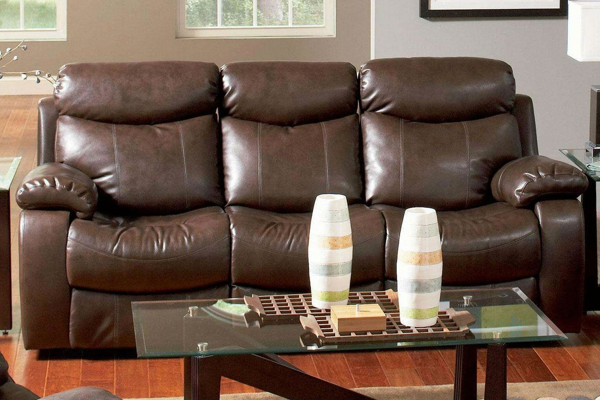Steal A Sofa Furniture Outlet: Brown Leather Reclining Sofa