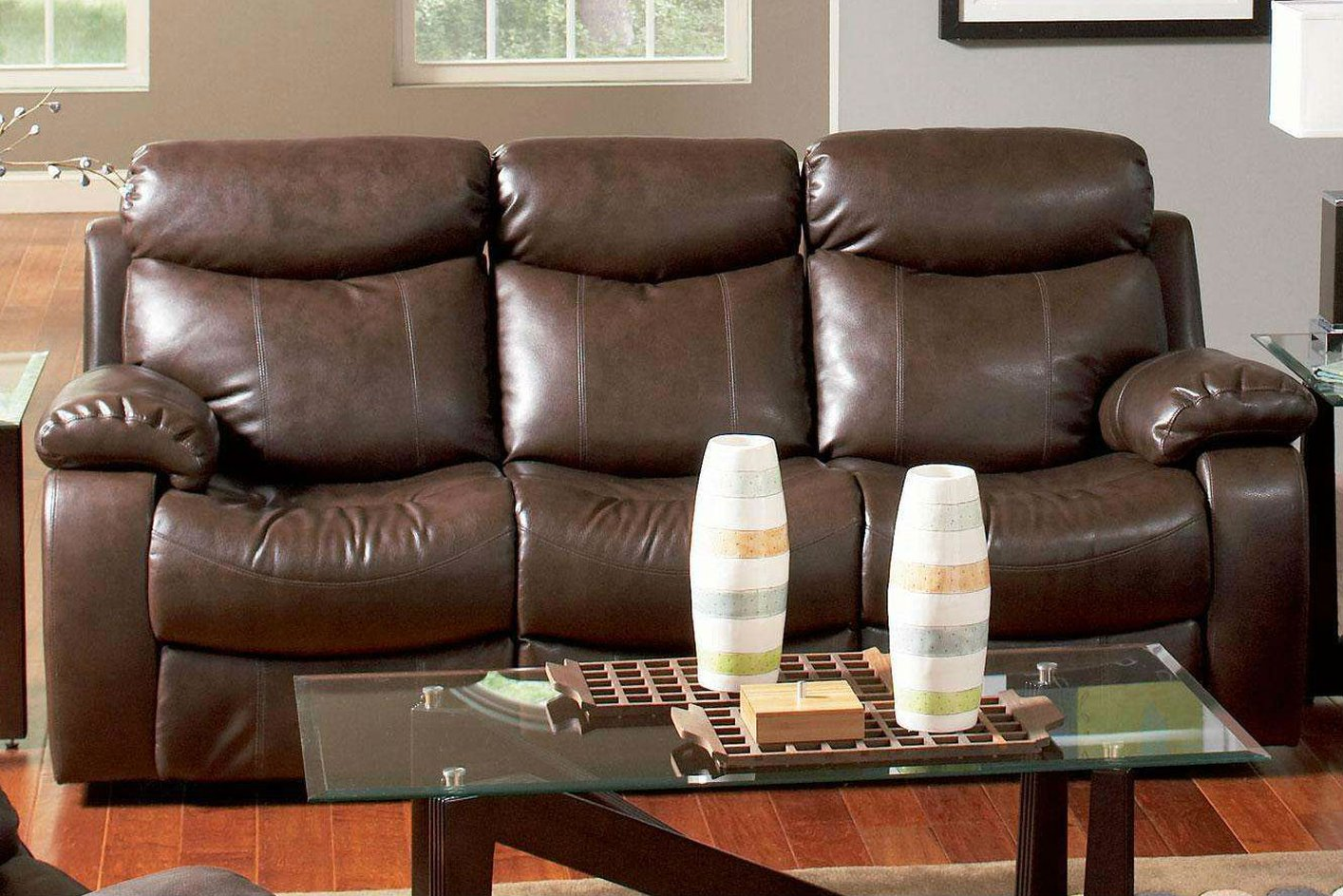 Denisa Brown Leather Reclining Sofa