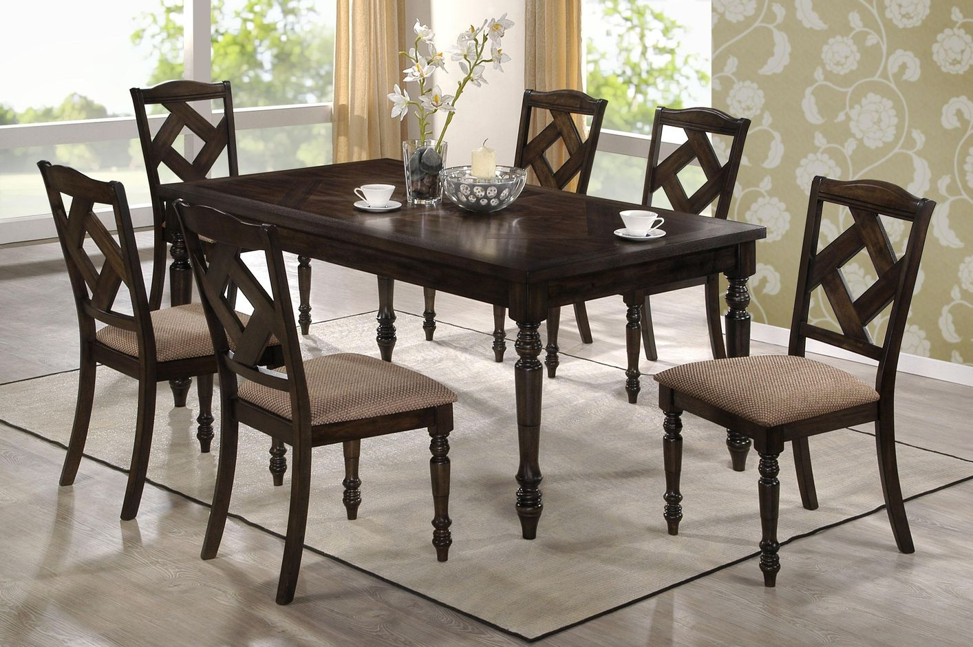 Dining 1033 brown ash wood dining table set steal a sofa for Dining table design basics