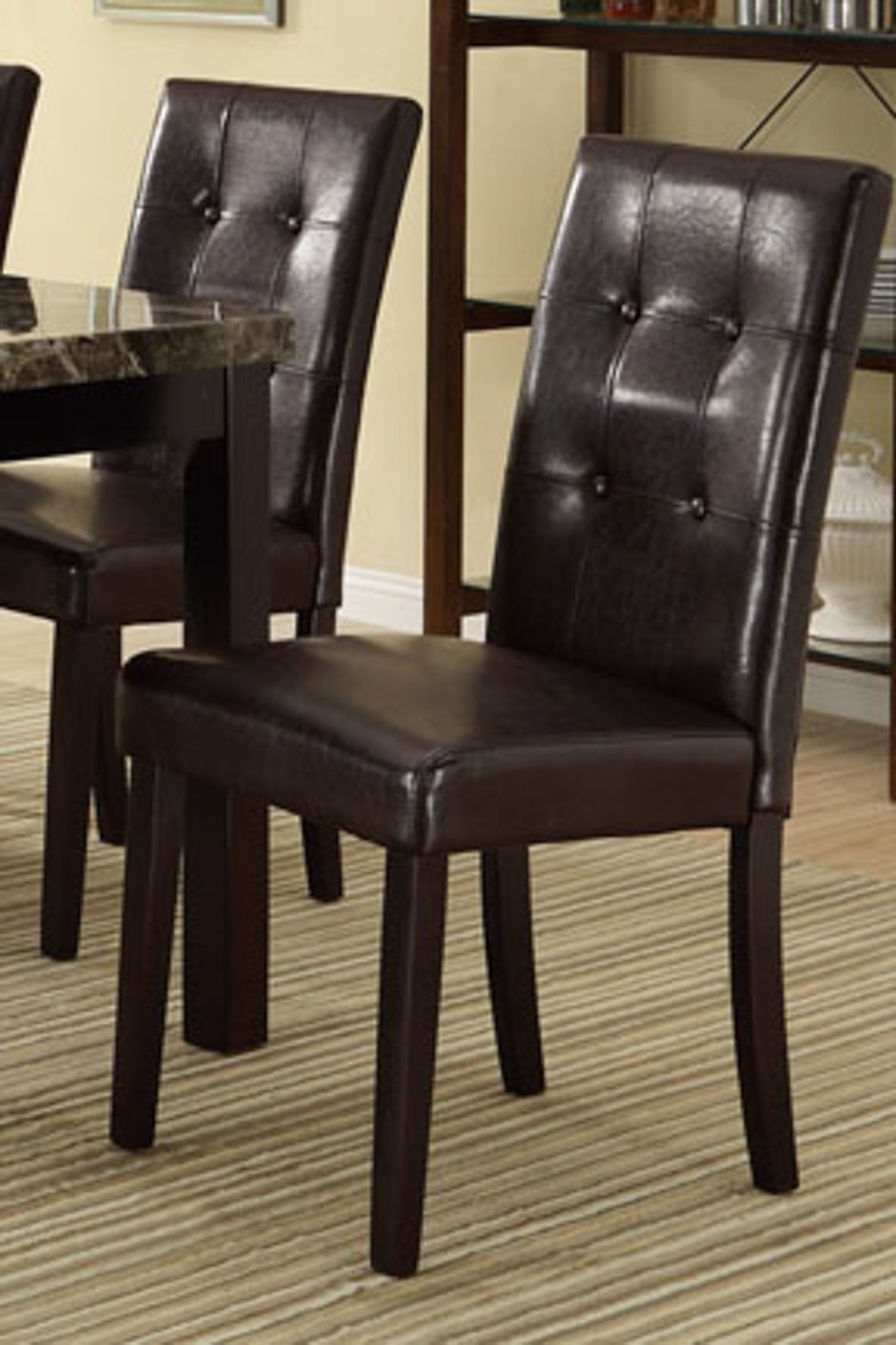 Poundex f1078 brown leather dining chair steal a sofa for Brown leather dining room chairs