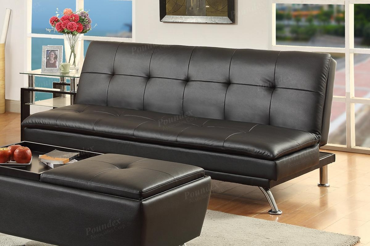 Poundex duvis f7838 black leather sofa bed steal a sofa for Sofa bed los angeles