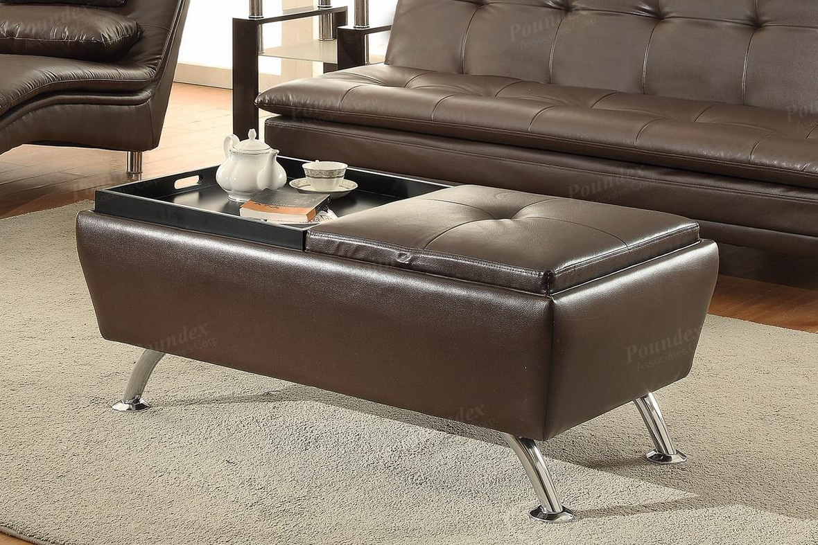 Brown leather ottoman - Duvis Brown Leather Ottoman