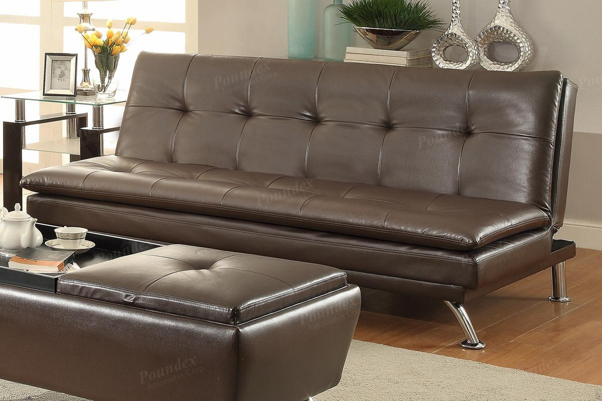 poundex duvis f7848 brown leather sofa bed steal a sofa furniture outlet los angeles ca. Black Bedroom Furniture Sets. Home Design Ideas