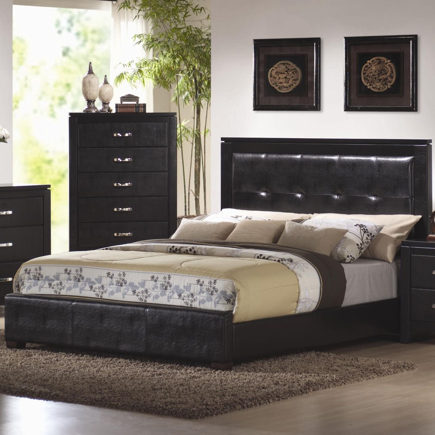 Coaster 201401kw black california king size leather bed for Bedroom furniture 90036