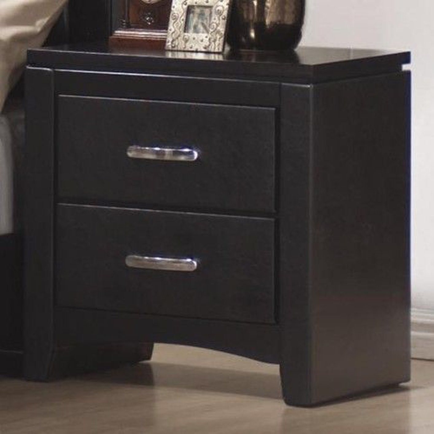 Black leather nightstand images for Black wood nightstand