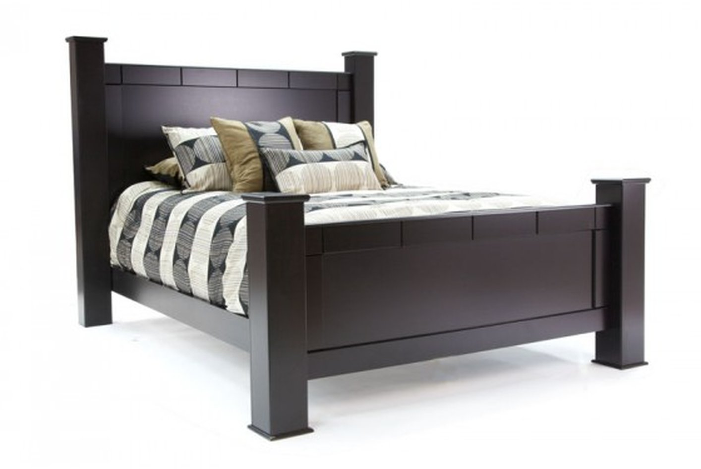 Elena Black Wood Queen Size Bed