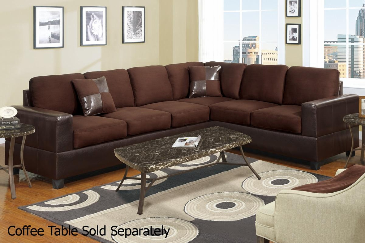 Poundex playa f7631 brown leather sectional sofa steal a for Sectional sofa los angeles ca