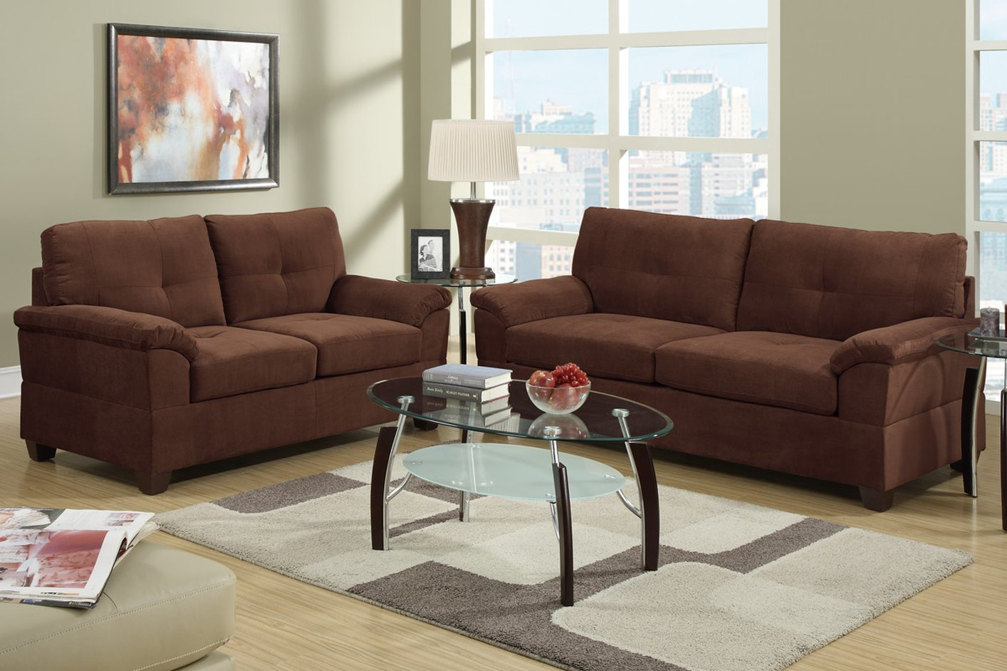 Elimination Brown Fabric Sofa And Loveseat Set