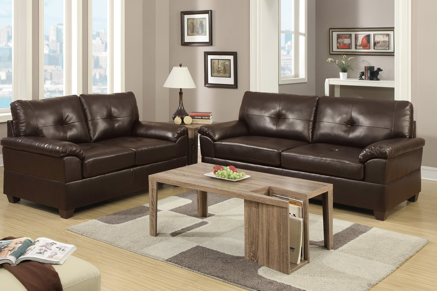 Poundex Elimination F7581 Brown Leather Sofa And Loveseat Set Steal A Sofa Furniture Outlet