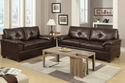 Elimination Brown Leather Sofa and Loveseat Set
