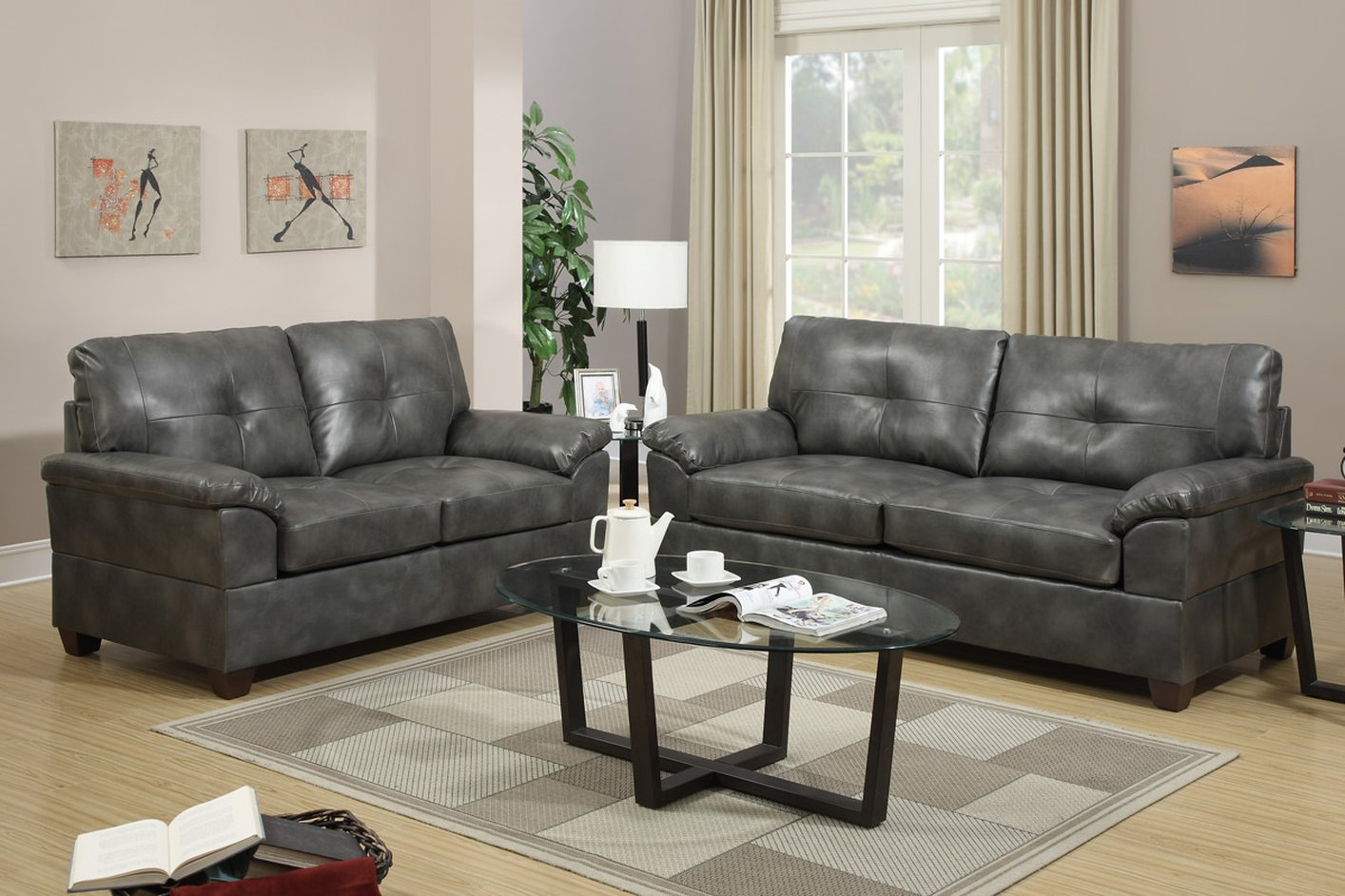 Elimination Grey Leather Sofa And Loveseat Set
