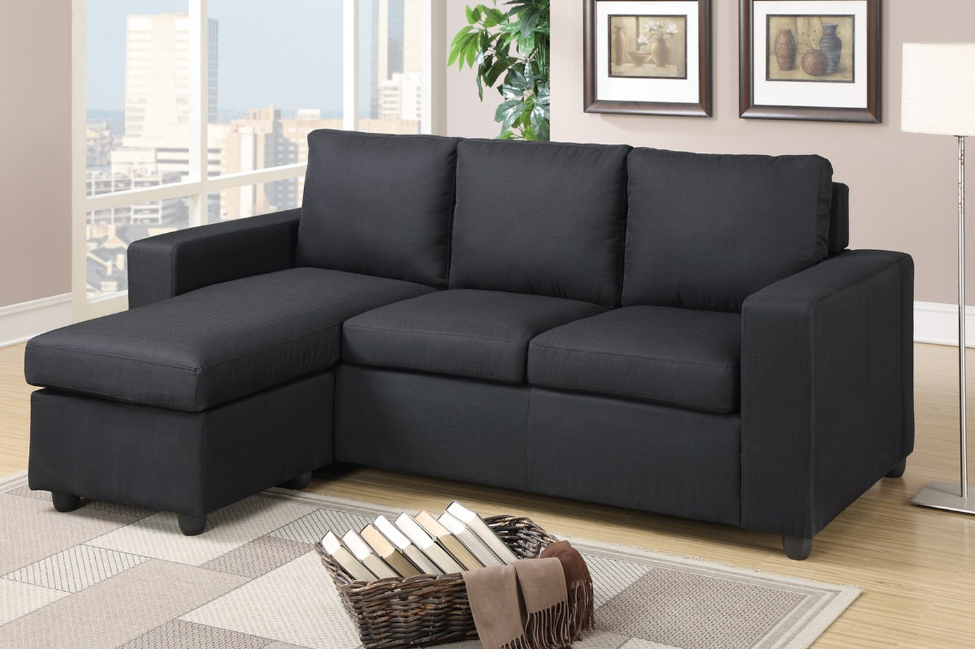 Poundex akeneo f7490 black fabric sectional sofa steal a for Black fabric couches