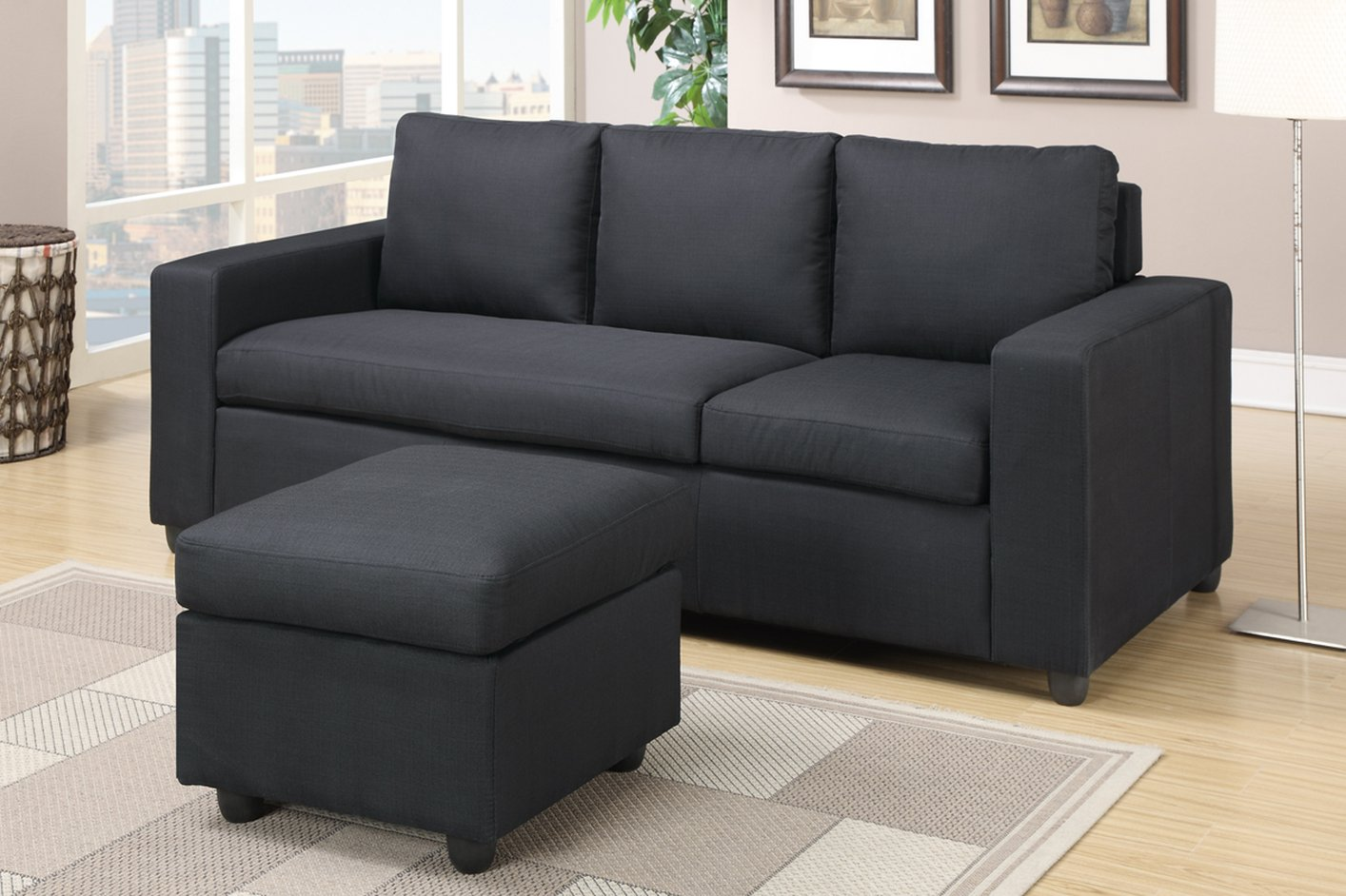 Poundex Akeneo F7490 Black Fabric Sectional Sofa Steal A Sofa Furniture Outlet Los Angeles Ca