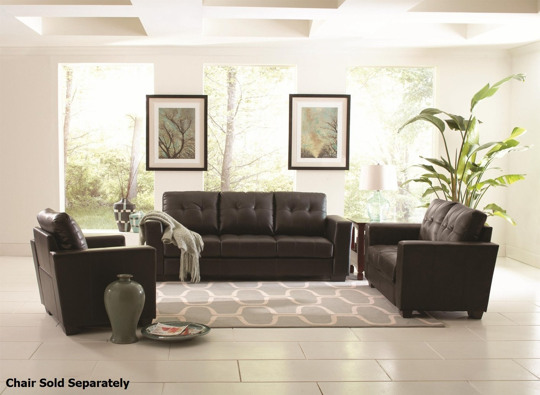 Enright Black Leather Sofa And Loveseat Set Steal A Sofa