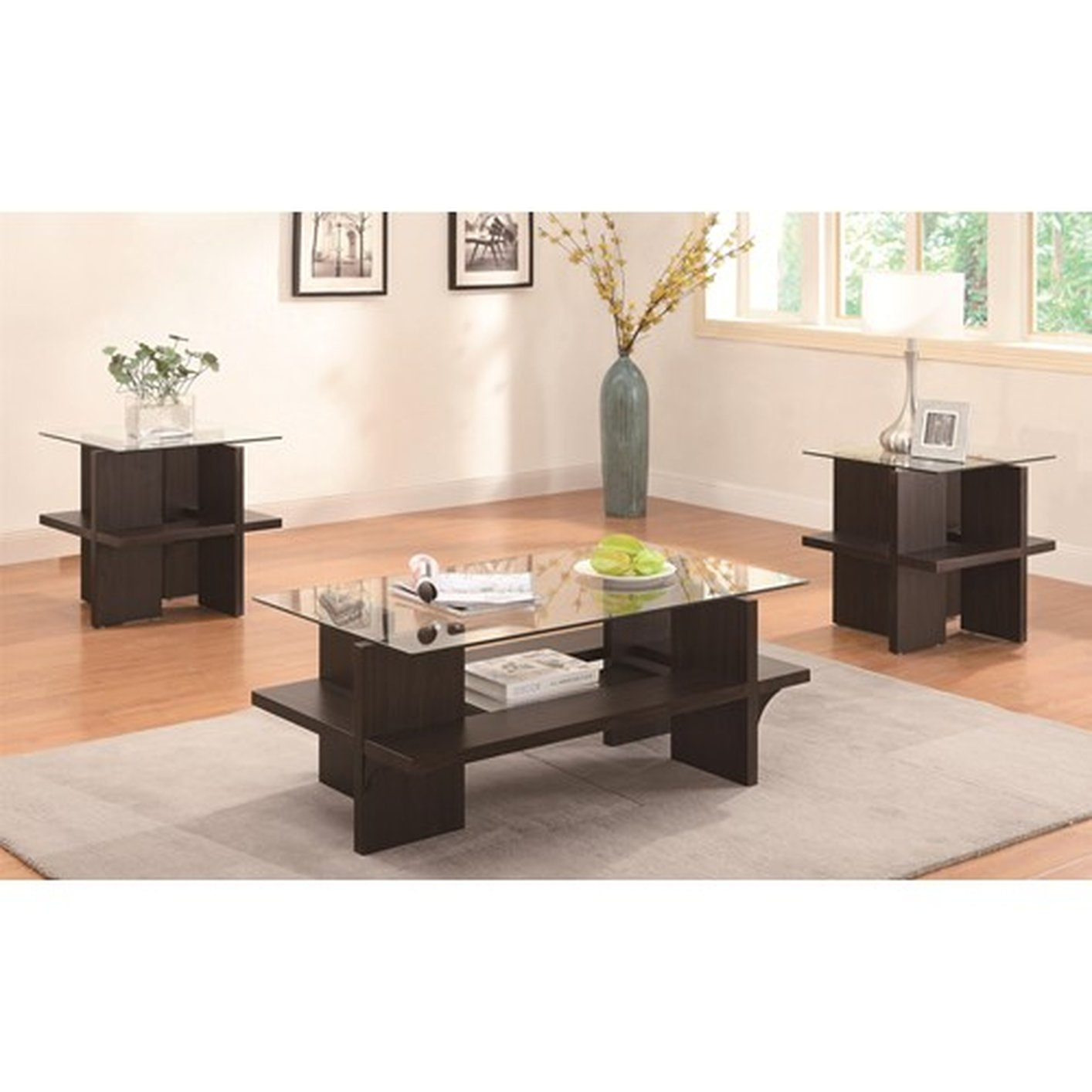 Enright Brown Glass Coffee Table Set - Coaster Enright 700785 Brown Glass Coffee Table Set - Steal-A-Sofa