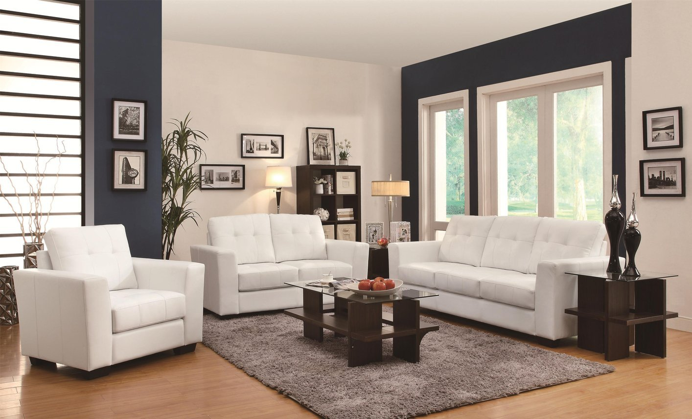 White Leather Chairs For Living Room Coaster Enright 503709 White Leather Chair Steal A Sofa
